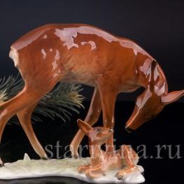 Фарфорвая статуэтка Олениха с олененком, Alka Kaiser, Германия, вт. пол. 20 в.