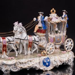 Большая фарфоровая композиция Карета с четверкой лошадей, Sitzendorf, Германия, сер. 20 в.