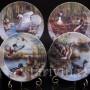 Декоративная фарфоровая тарелка Кокетливые чомги, Ottlinger Porzellan, Германия, 1995 г.